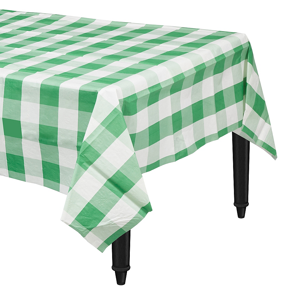 Green & White Plaid Table Cover Image #1