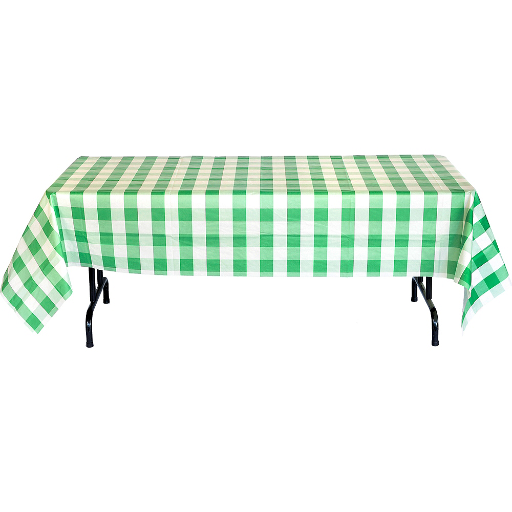 Green & White Plaid Table Cover Image #4
