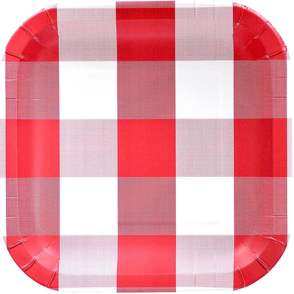 Red & White Plaid Lunch Plates 8ct Image #1