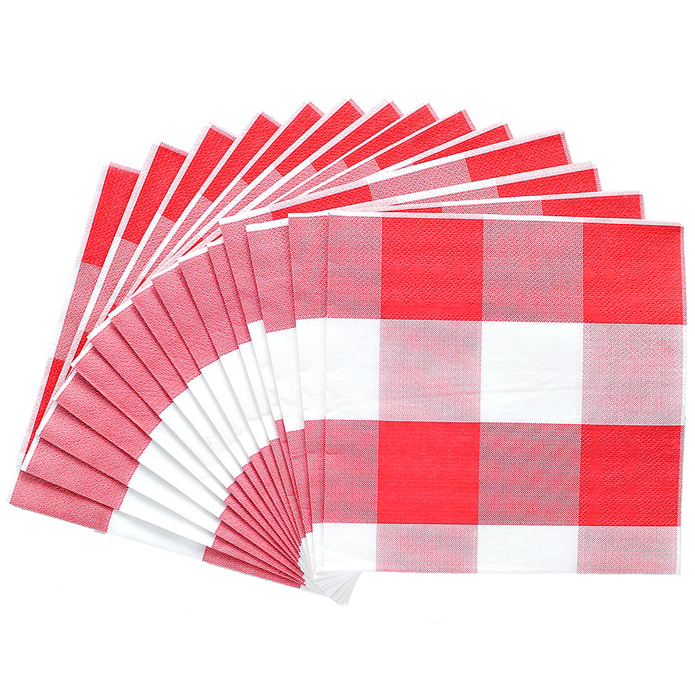 Red & White Plaid Lunch Napkins 16ct Image #2