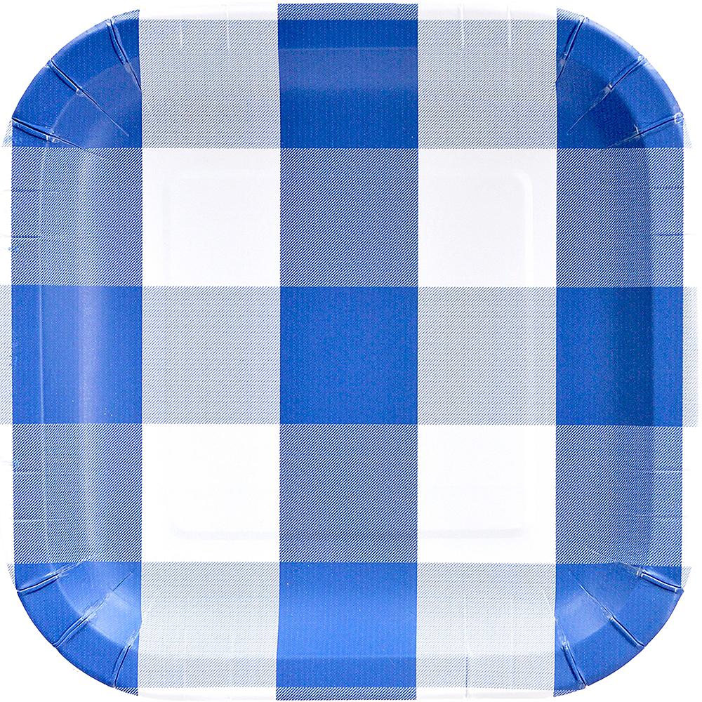Blue & White Plaid Lunch Plates 8ct Image #1