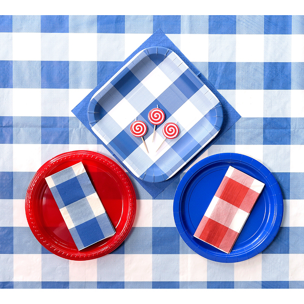Blue & White Plaid Lunch Plates 8ct Image #2