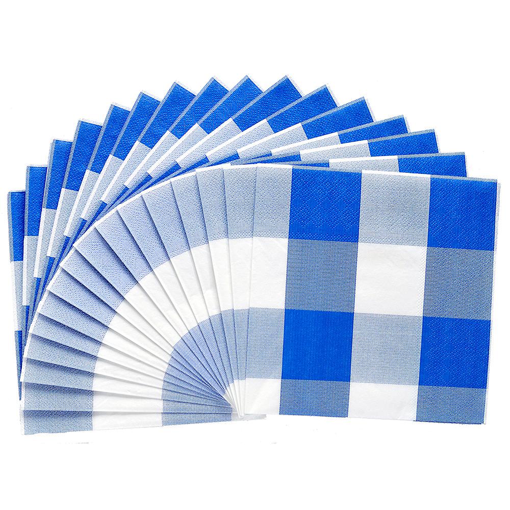 Blue & White Plaid Lunch Napkins 16ct Image #2