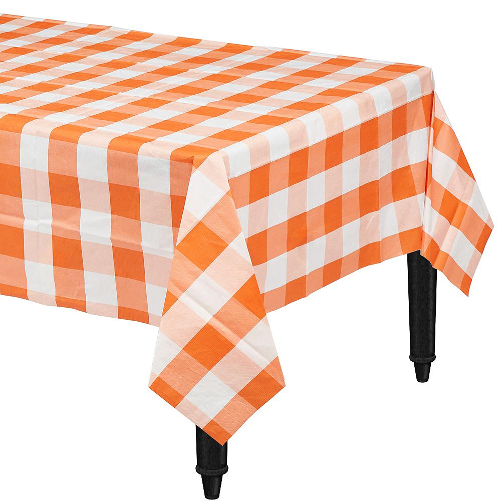 Orange & White Plaid Table Cover Image #1
