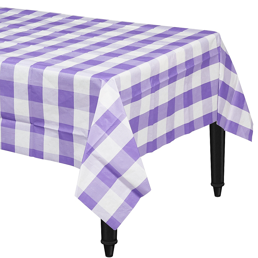 Purple & White Plaid Table Cover Image #1