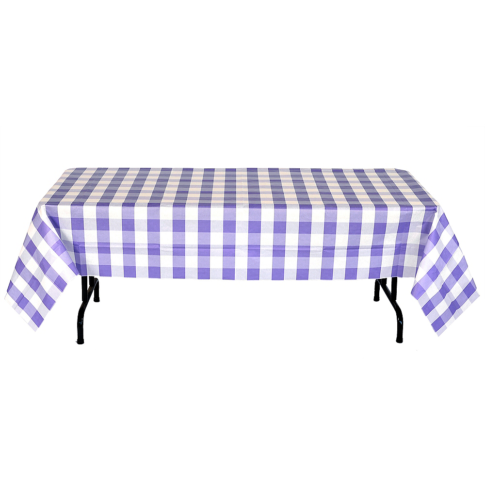 Purple & White Plaid Table Cover Image #2