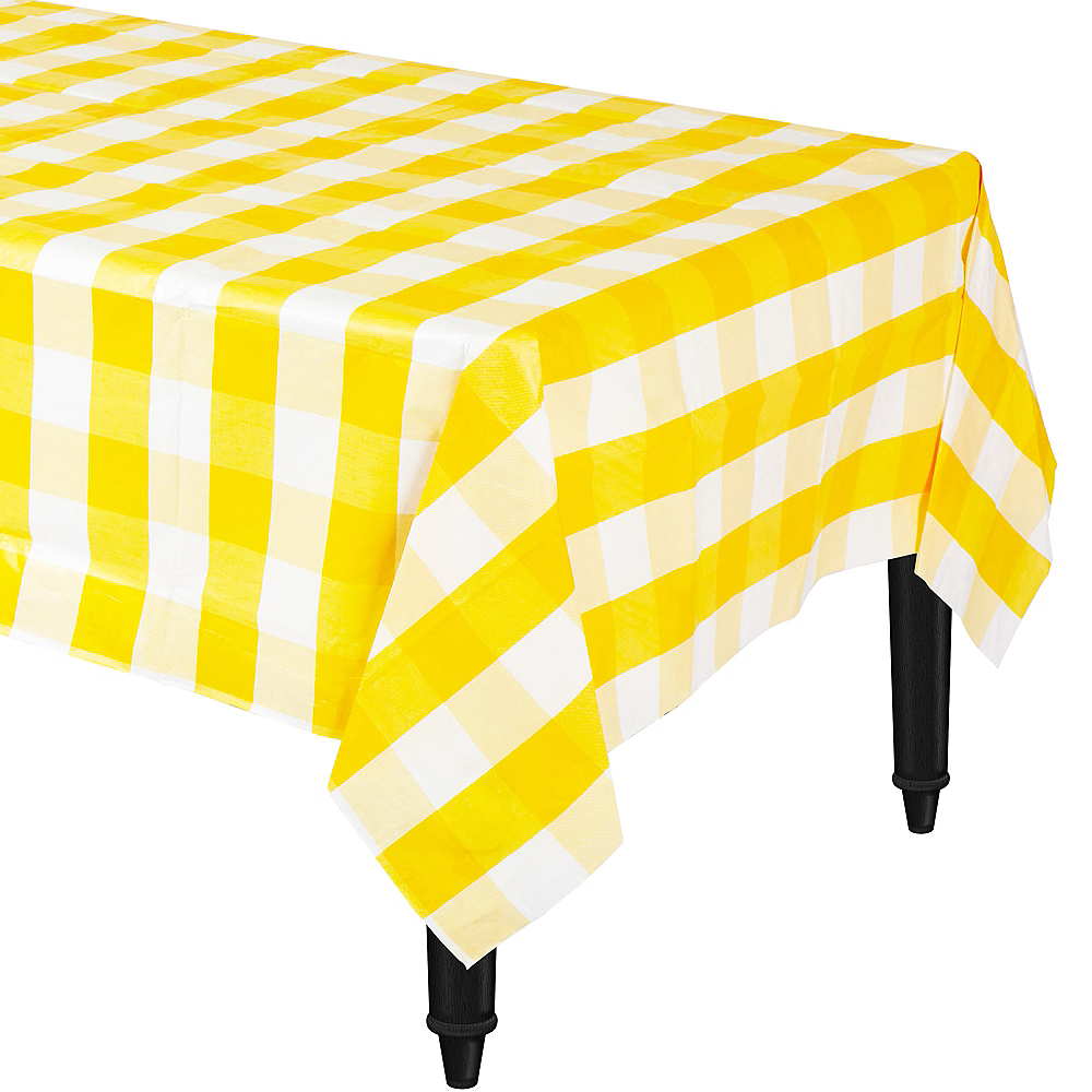 Yellow & White Plaid Table Cover Image #1