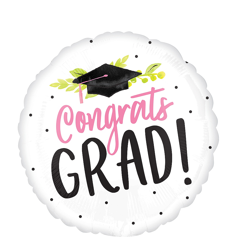 Pink Floral Congrats Grad Balloon, 17in Image #1