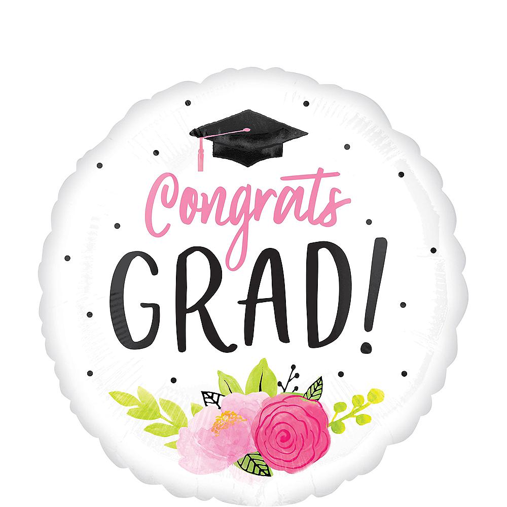 Giant Pink Floral Congrats Grad Balloon Image #1