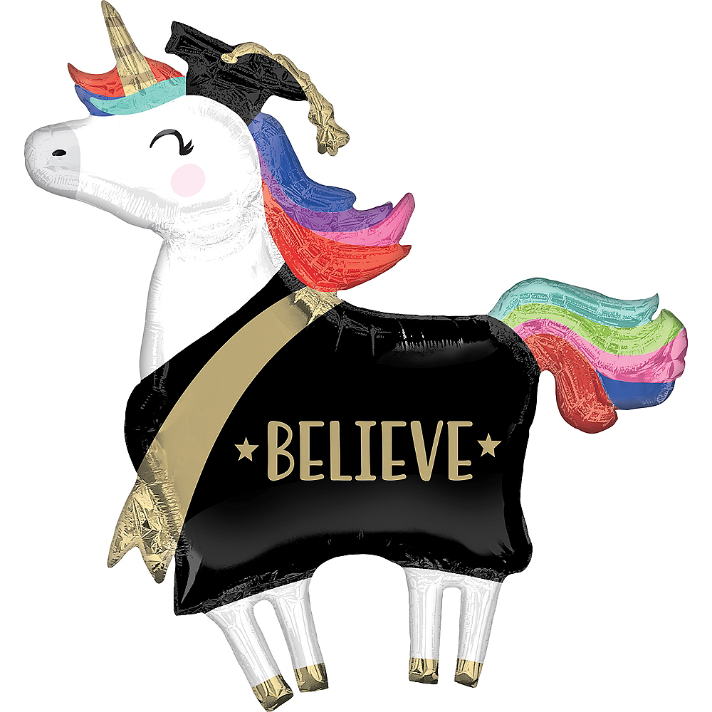 Giant Unicorn Believe Graduation Balloon Image #1