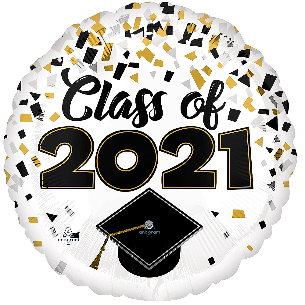 Nav Item for Black, Gold & Silver Confetti Class of 2020 Graduation Balloon, 17in Image #1