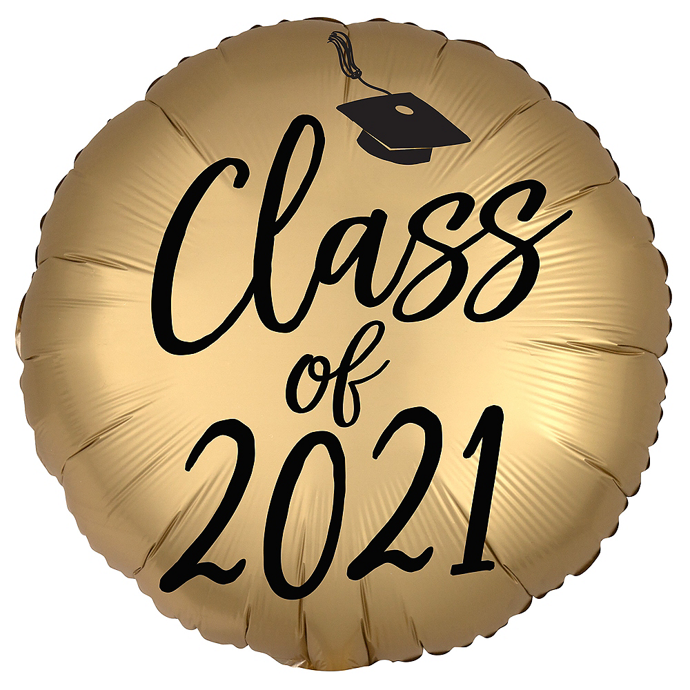 Satin Black & Gold Class of 2021 Graduation Foil Balloon, 18in Image #1