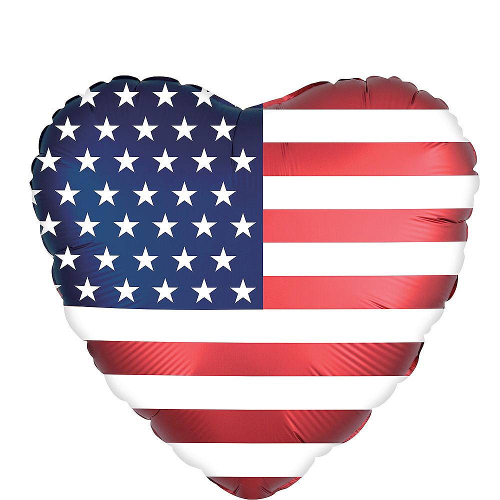 American Flag Satin Heart Balloon Image #1