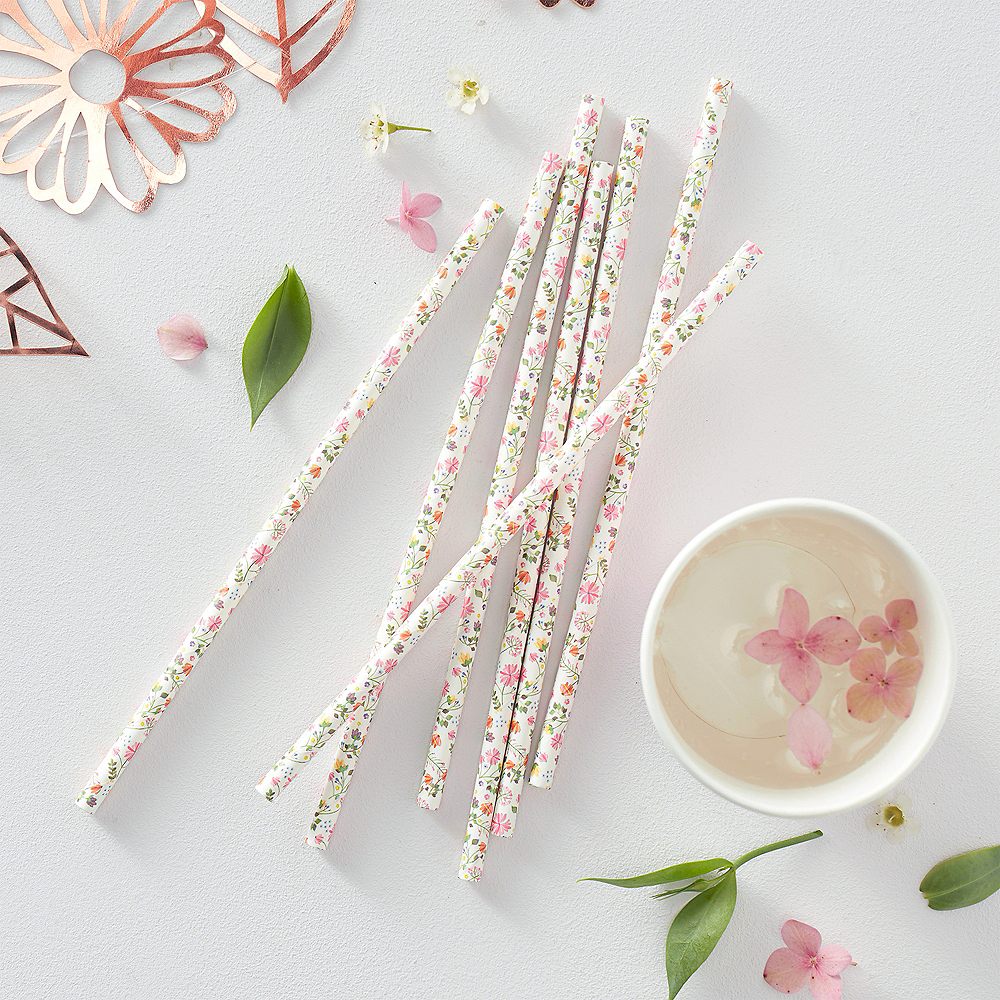 Ginger Ray Floral Paper Straws 25ct Image #2