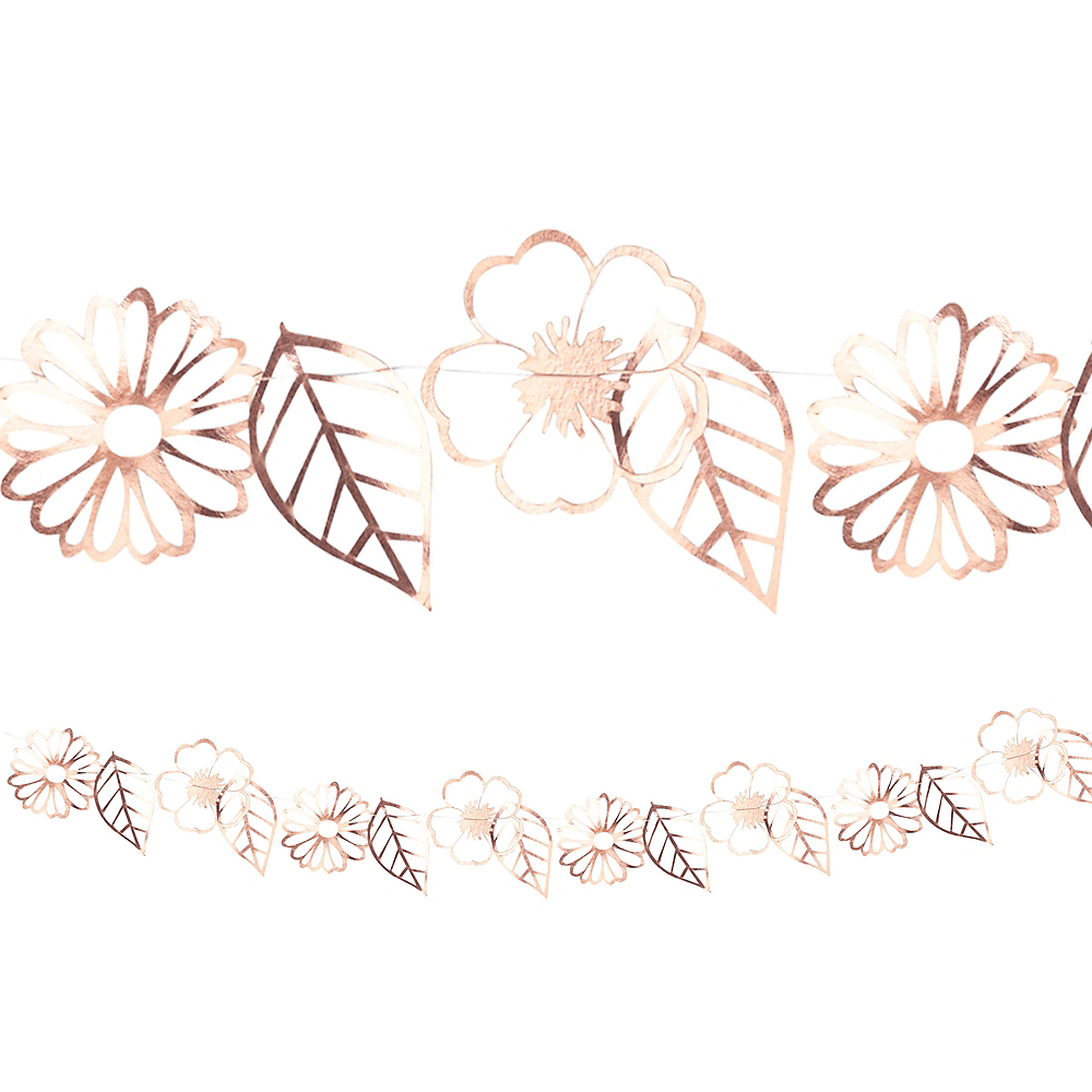 Ginger Ray Metallic Rose Gold Flower Garland Image #1