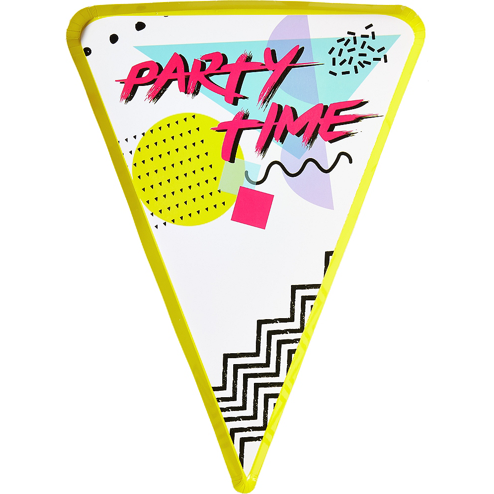 90s Party Time Pizza Plates 8ct Image #1