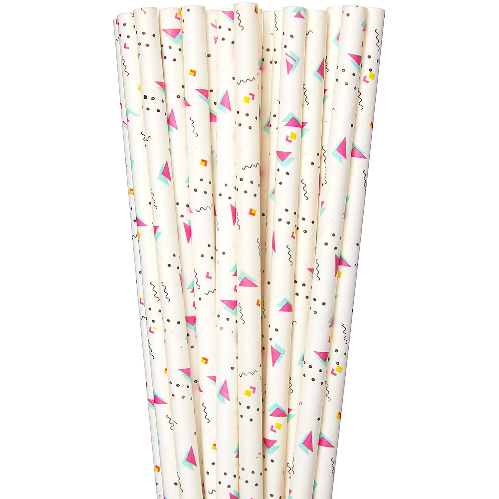 90s Party Time Graphic Designs Paper Straws 20ct Image #1