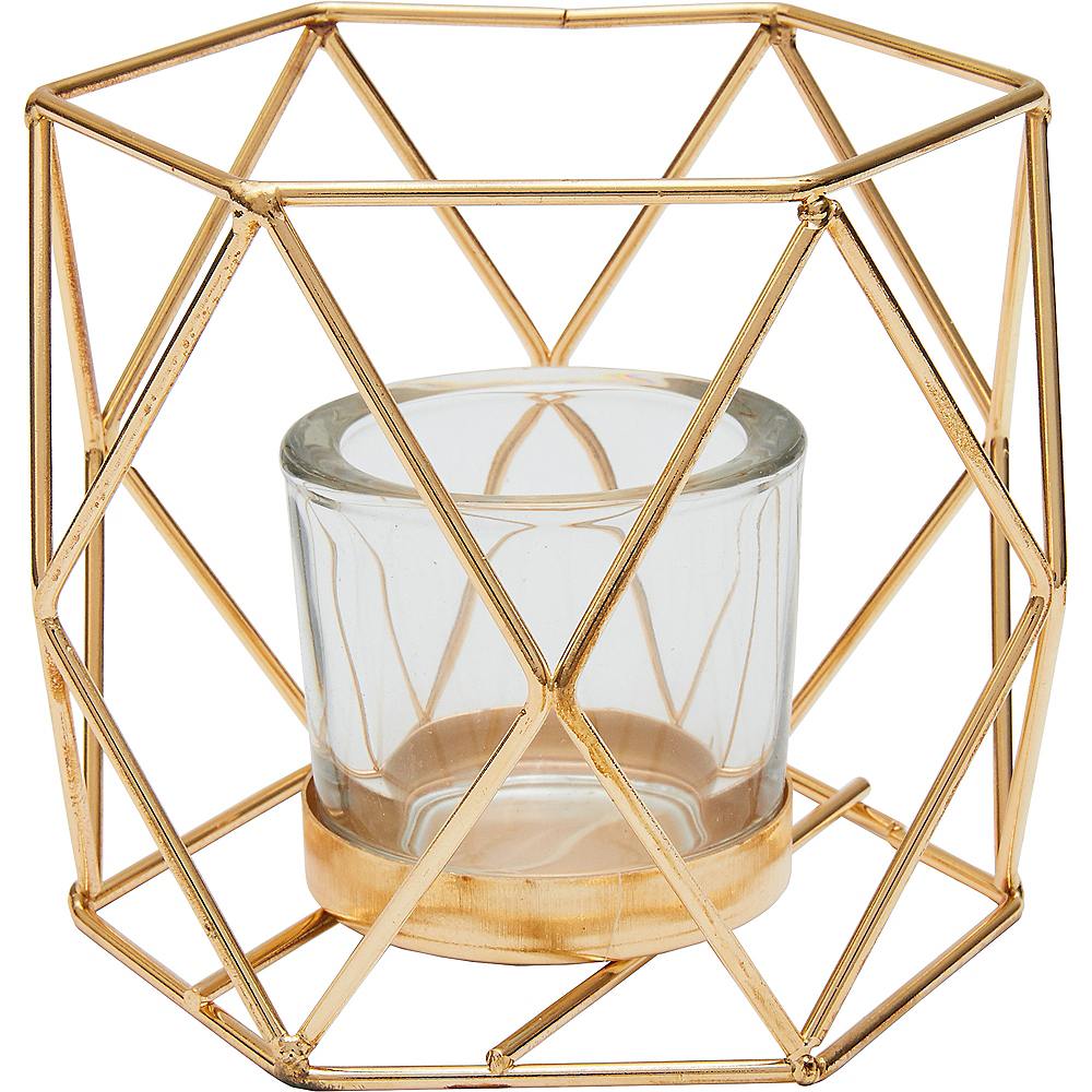 Gold Hexagonal Basket Votive Candle Holders 4ct Image #1