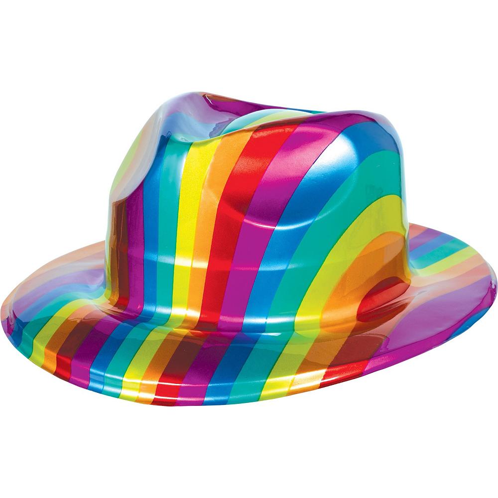 Rainbow Plastic Fedora 10ct Image #2