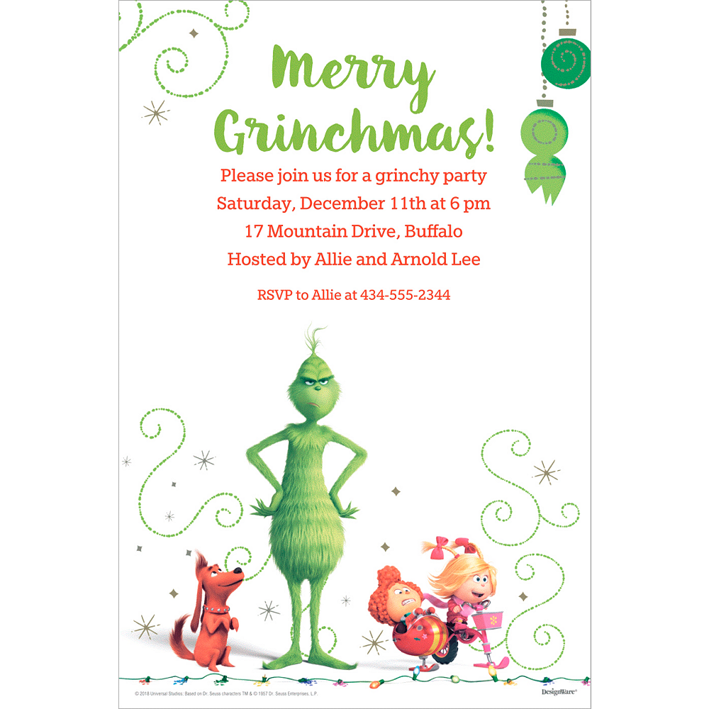 custom the grinch invitations