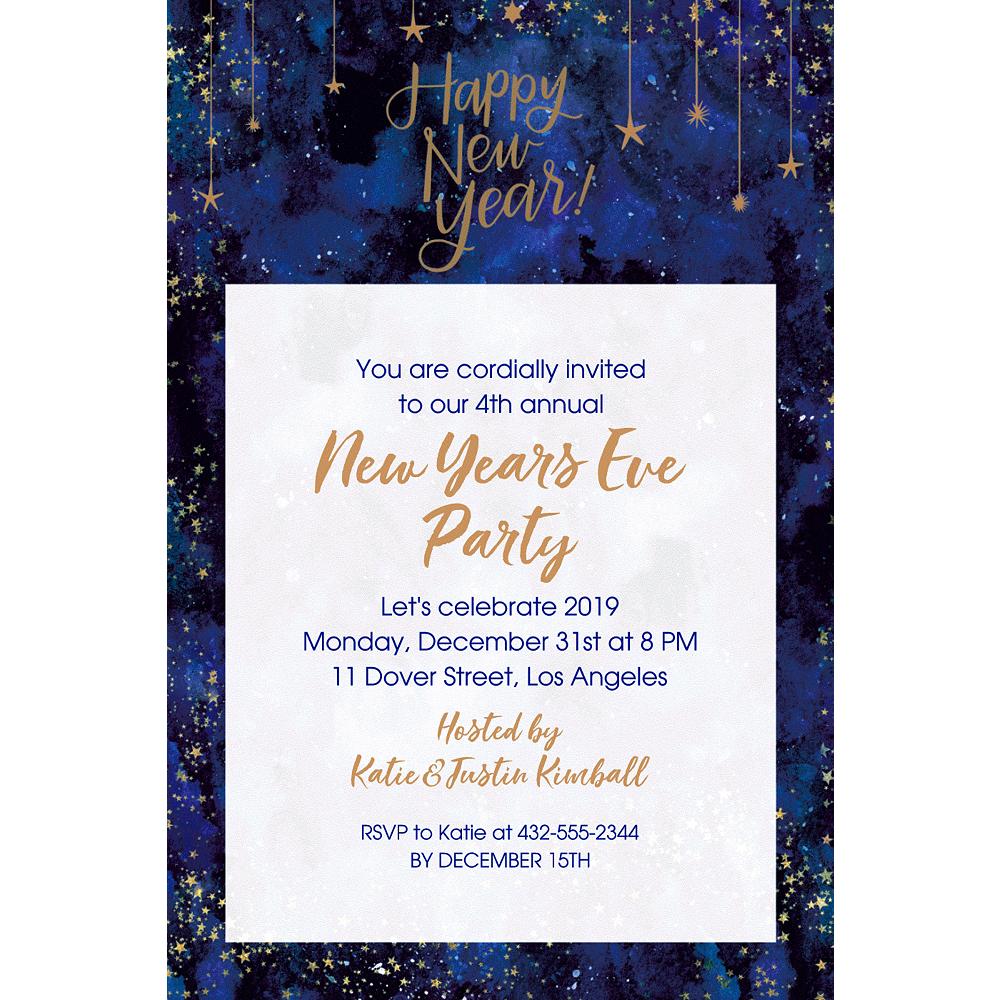 Custom Midnight New Year's Eve Invitations Image #1