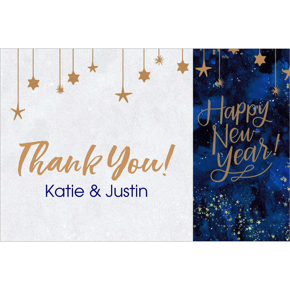 Custom Midnight New Year's Eve Thank You Notes Image #1
