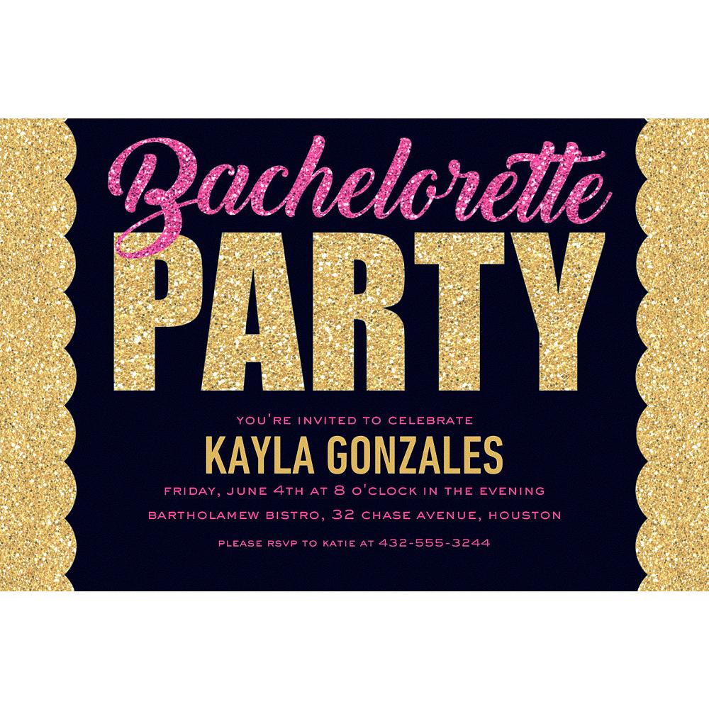 Custom Pink & Gold Bachelorette Invitations Image #1