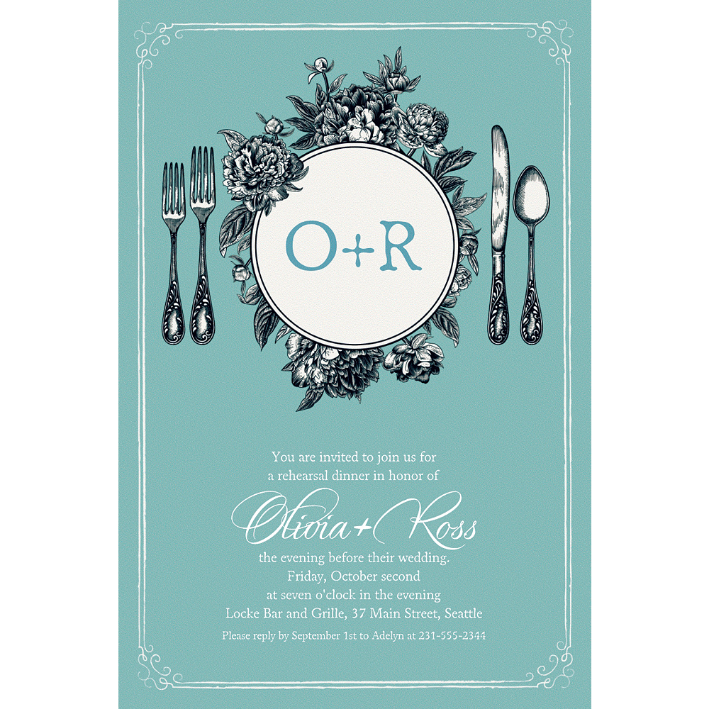 Custom Teal Antique Place Setting Invitations  Image #1