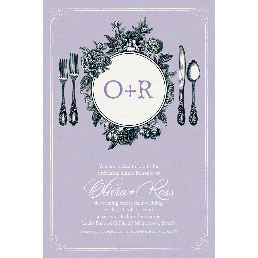 Custom Lavender Antique Place Setting Invitations Image #1