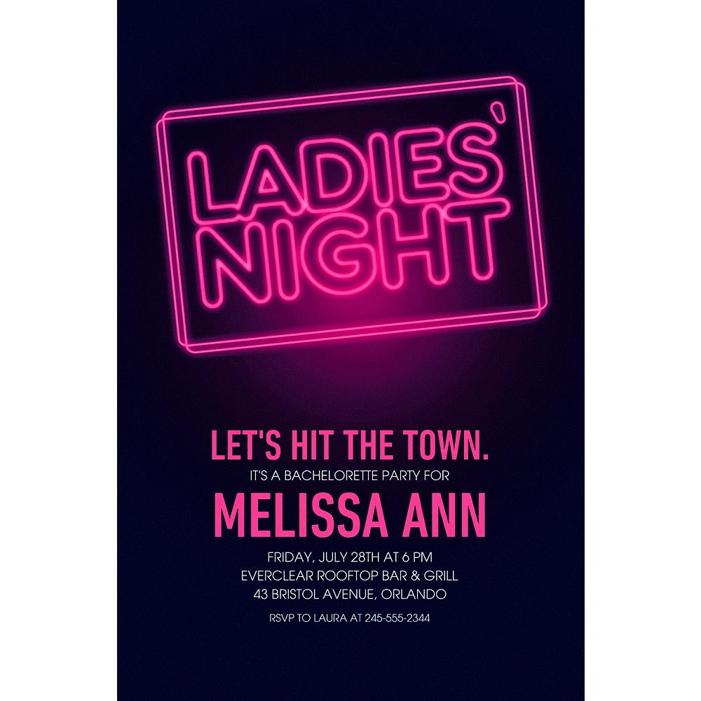 Custom Ladies Night Neon Sign Invitations Party City