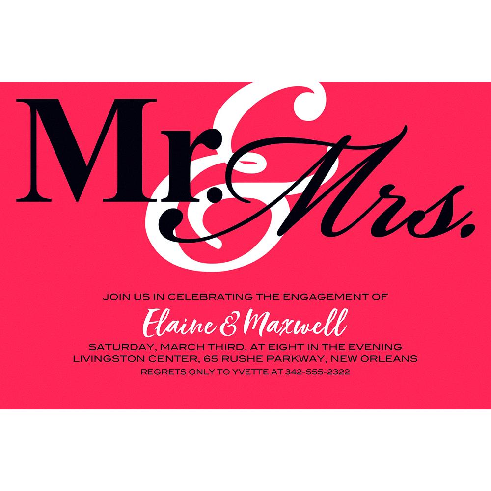 Custom Red Mr. & Mrs. Invitations Image #1