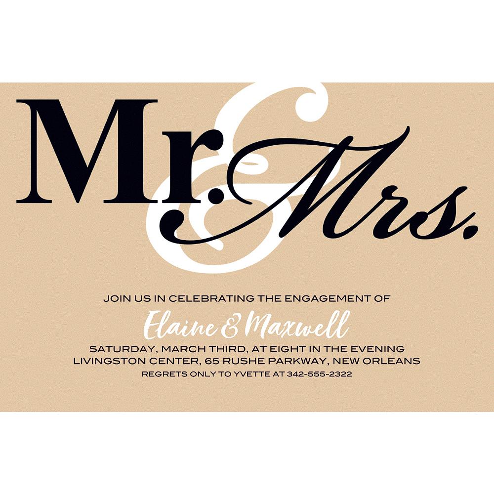 Custom Gold Mr. & Mrs. Invitations Image #1