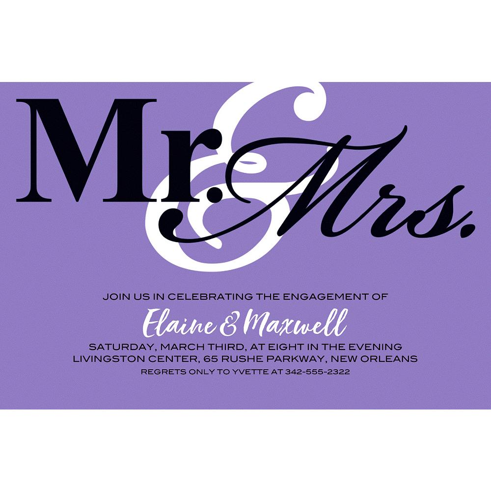 Custom Purple Mr. & Mrs. Invitations Image #1