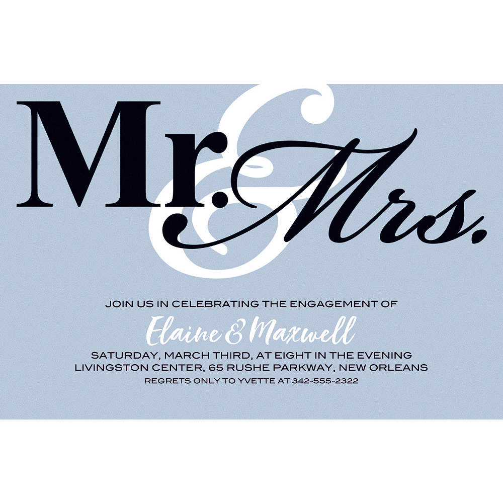Custom Silver Mr. & Mrs. Invitations Image #1
