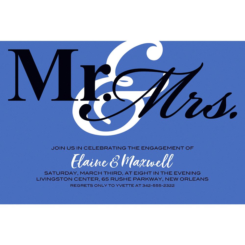 Custom Blue Mr. & Mrs. Invitations Image #1