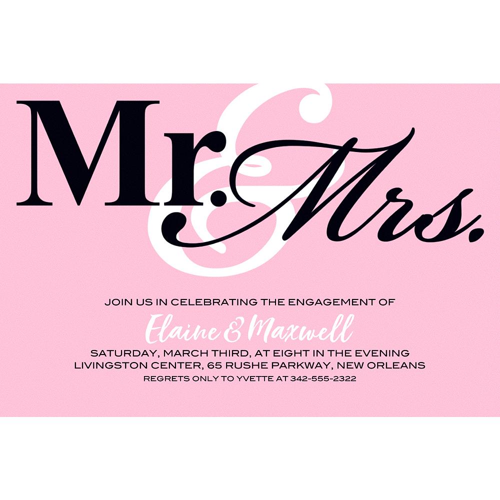 Custom Blush Mr. & Mrs. Invitations Image #1