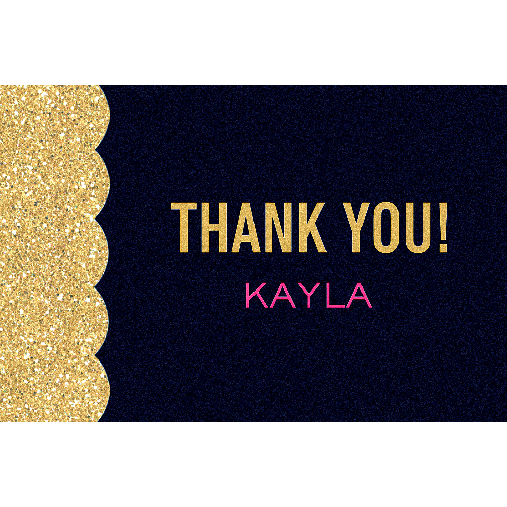 Custom Pink & Gold Bachelorette Thank You Notes Image #1