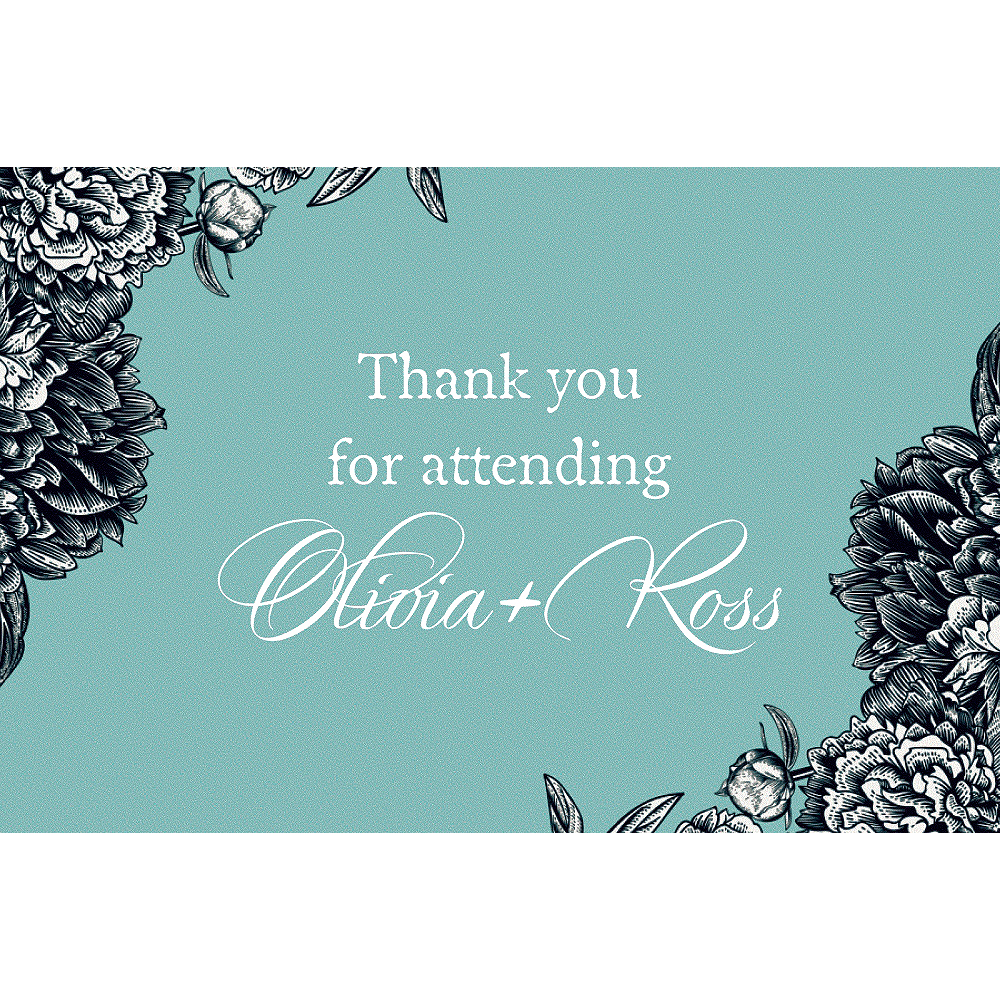 Custom Teal Antique Place Setting Thank You Notes Image #1