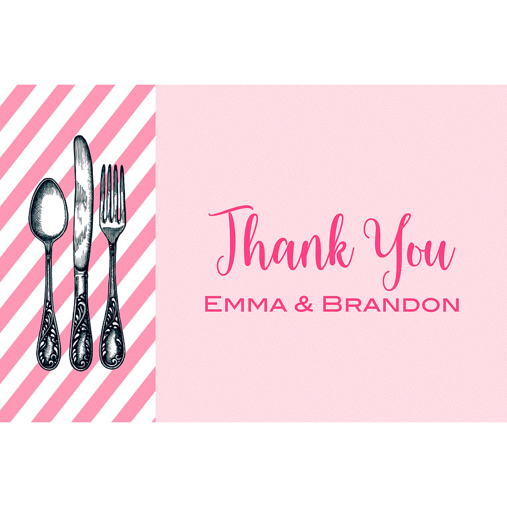 Custom Pink Rehearsal Silverware Thank You Notes Image #1