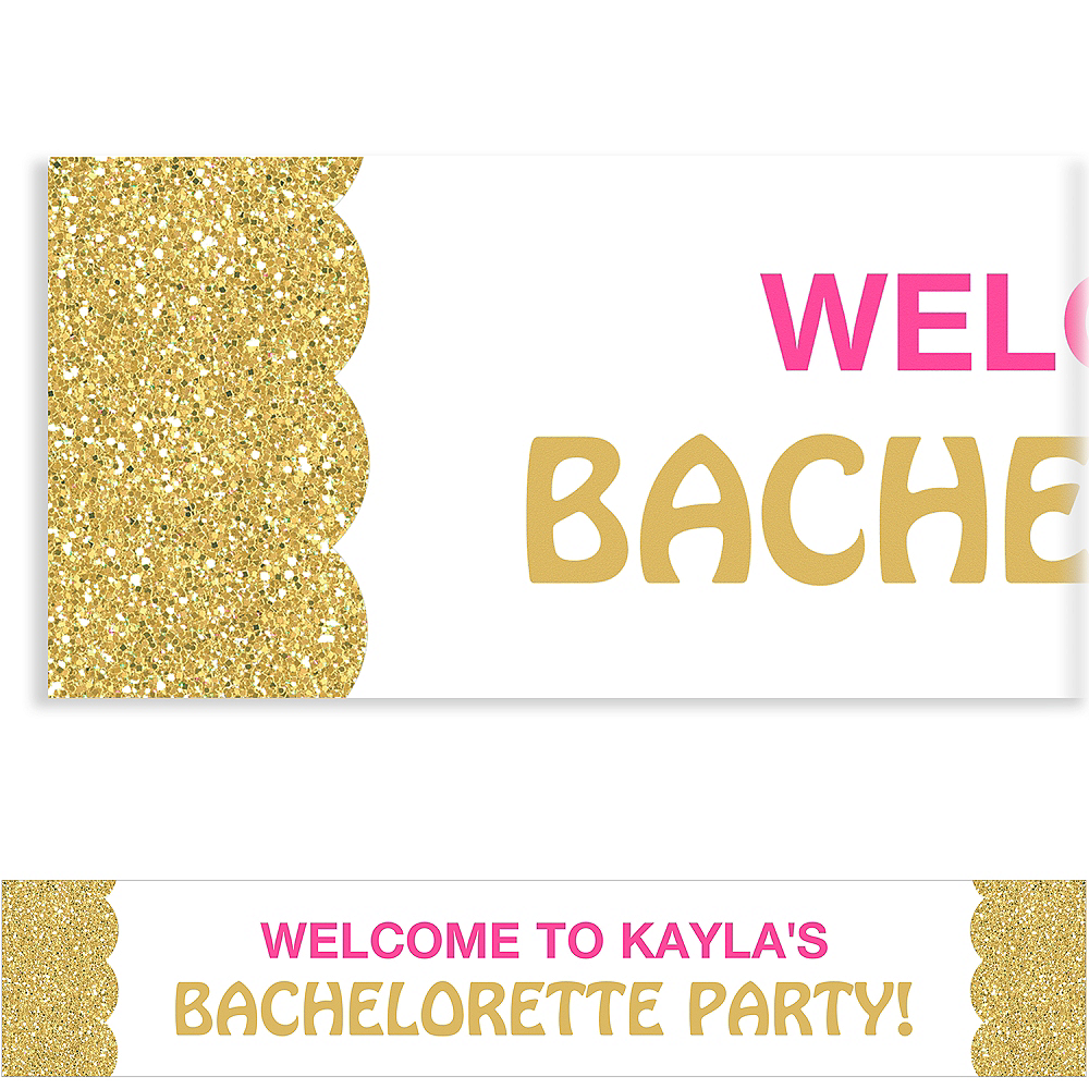 Custom Pink & Gold Bachelorette Banner Image #1