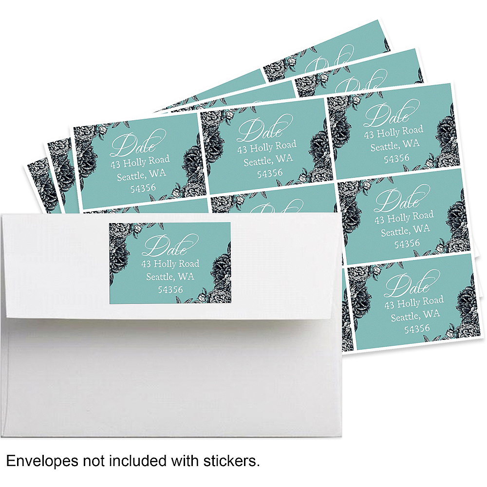 Custom Teal Antique Place Setting Stickers Image #1