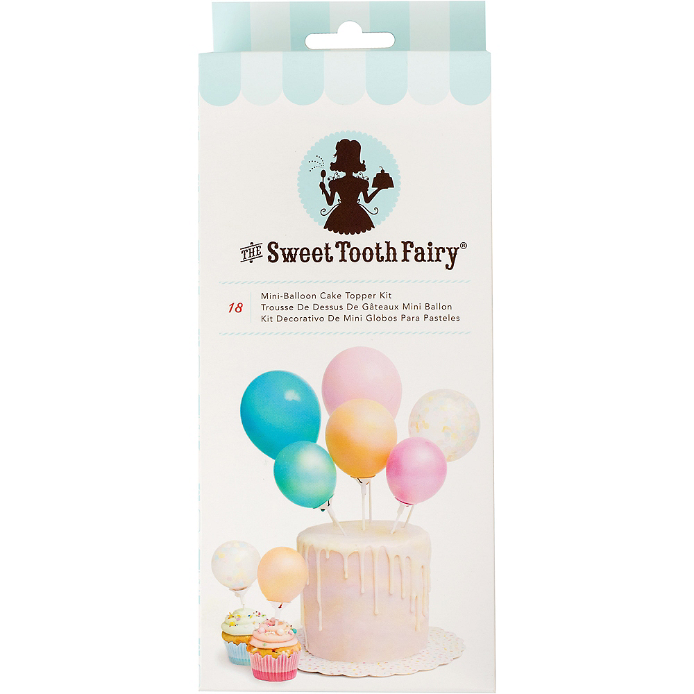 Sweet Tooth Fairy Air-Filled Multicolor Mini-Balloon Cake Topper Kit 18pc Image #1