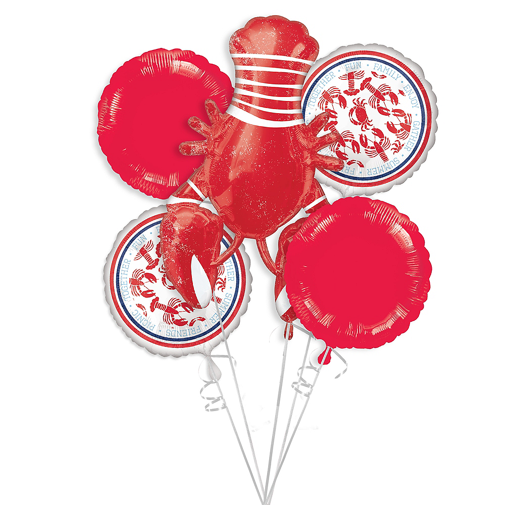 Seafood & Summer Balloon Bouquet 5pc Image #1