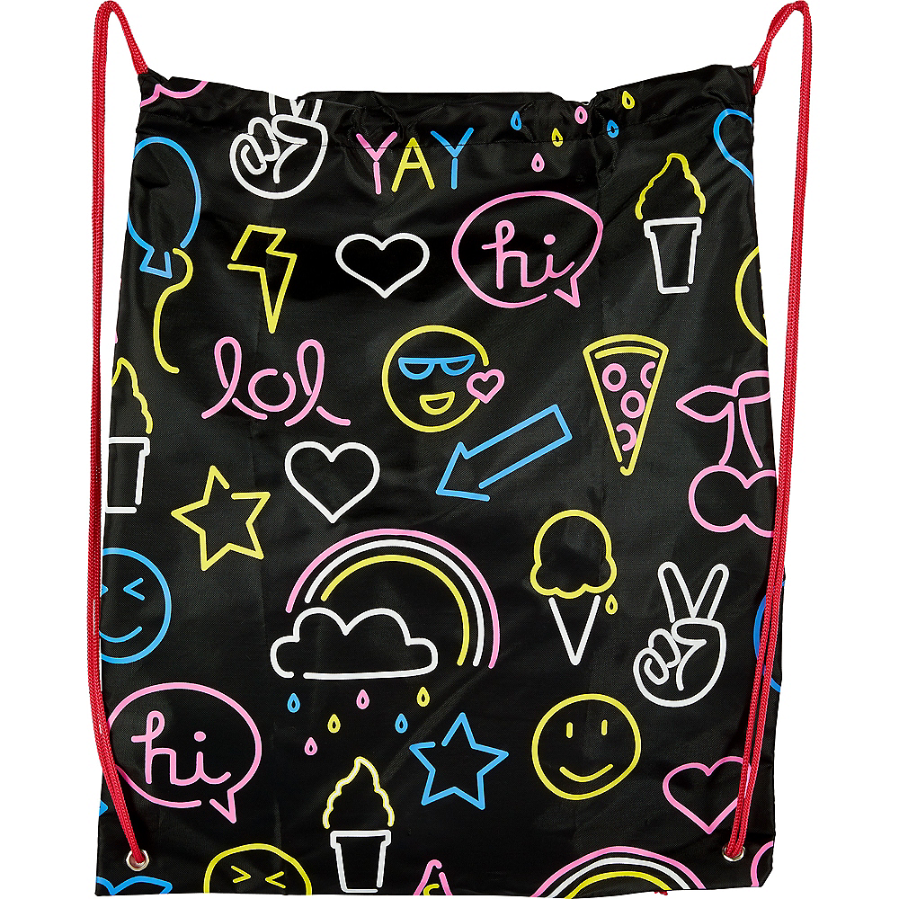 Neon Icons Drawstring Backpack Image #1