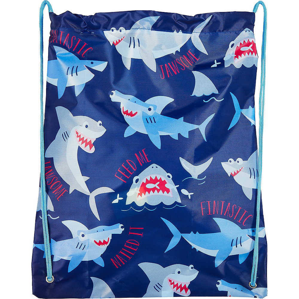 Blue Shark Drawstring Backpack Image #1