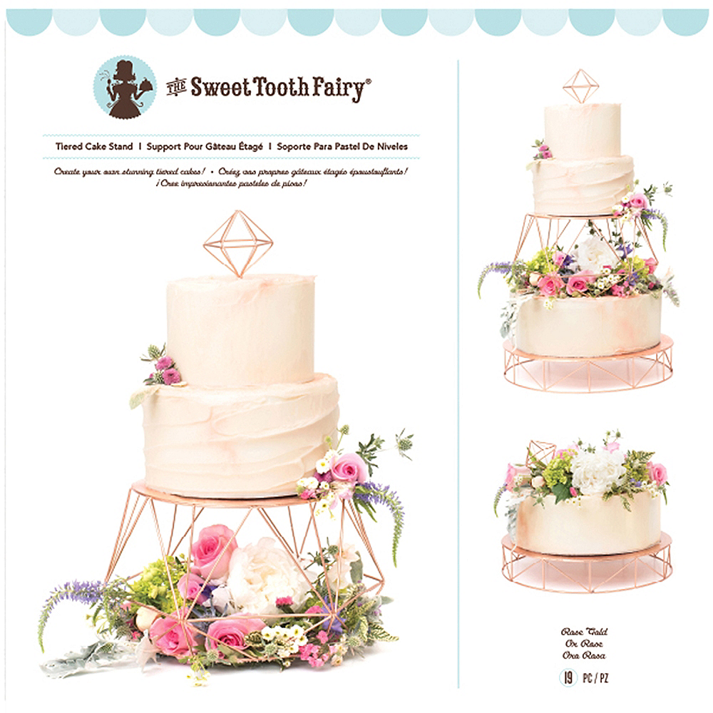 Sweet Tooth Fairy Rose Gold Geometric Tiered Cake Stand 7pc Image #2