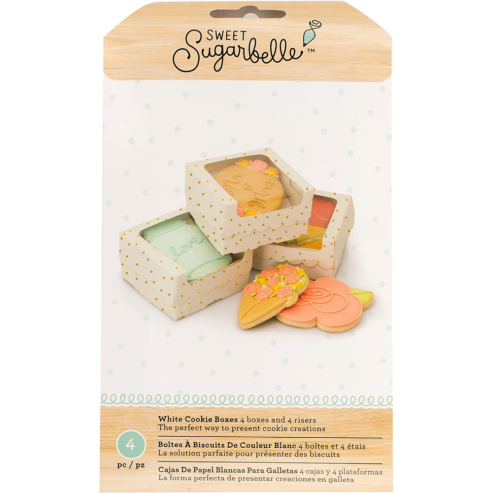 Sweet Sugarbelle White Dotted Cookie Boxes 4ct Image #1