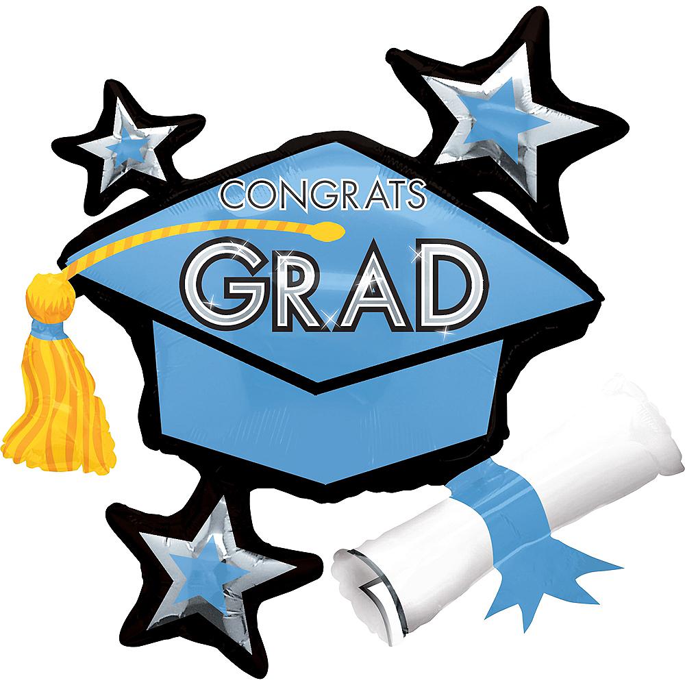 Powder Blue Star Graduation Cap Graduation Balloon Image #1