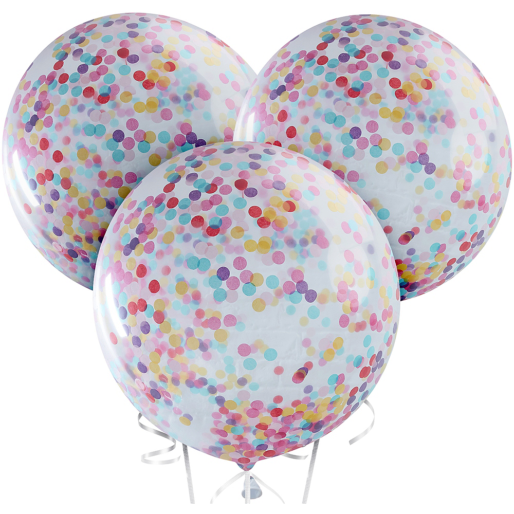 Ginger Ray Giant Multicolor Confetti Balloons 3ct Image #2