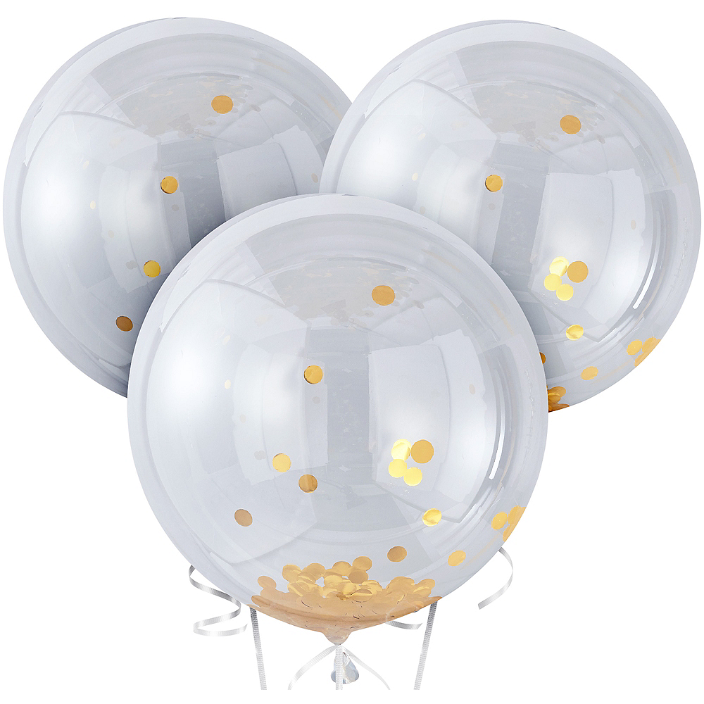 Ginger Ray Giant Gold Confetti Balloons 3ct, 36in Image #2
